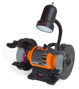 2.1-Amp 6-Inch Bench Grinder with Flexible Work Light, 4276