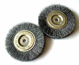 """2 ATE PROFESSIONAL 6"""" STEEL WIRE WHEEL BRUSHES FOR BENCH GRI"""