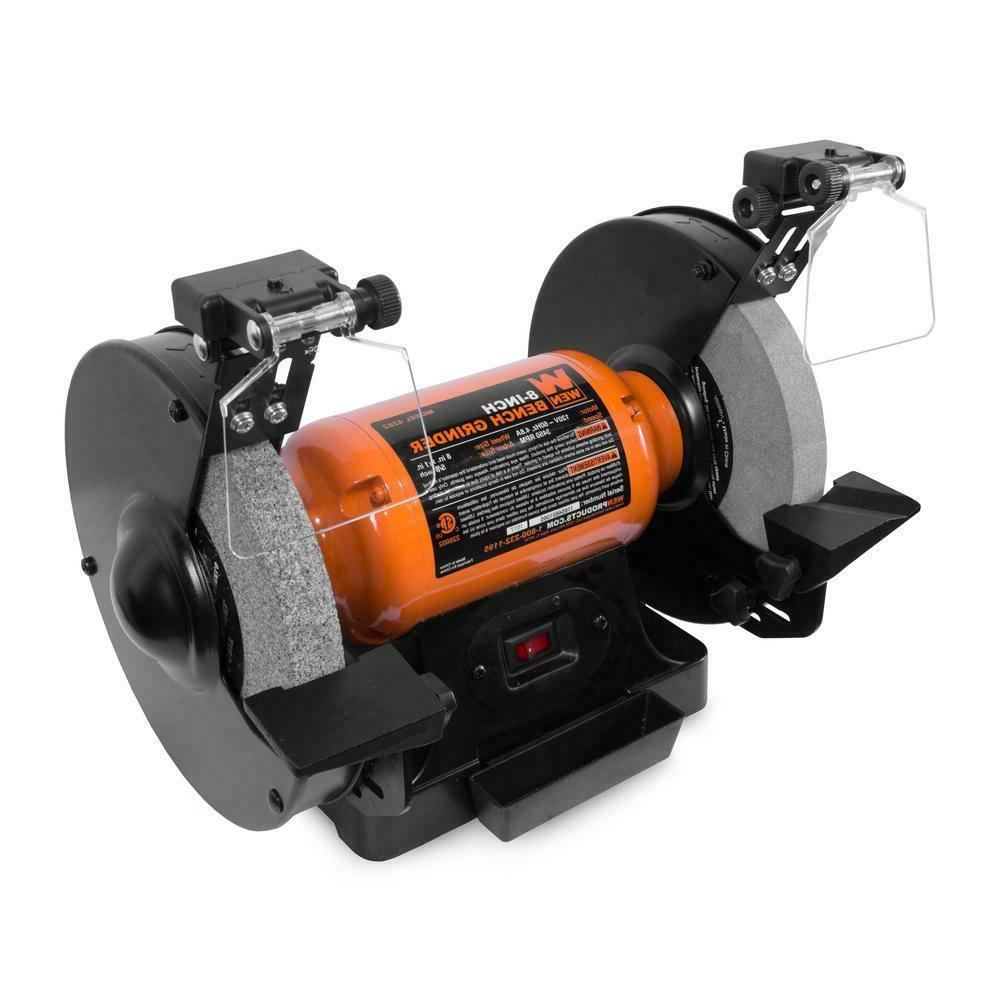 "WEN 4.8 Amp 8"" Bench Grinder with LED Work Lights and Quench"