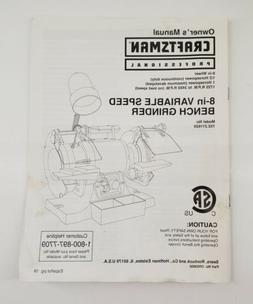 Owners Manual Sears Craftsman 8-in Variable Speed Bench Grin